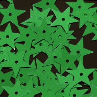 15mm Metallic Green Star Sequins x 20g